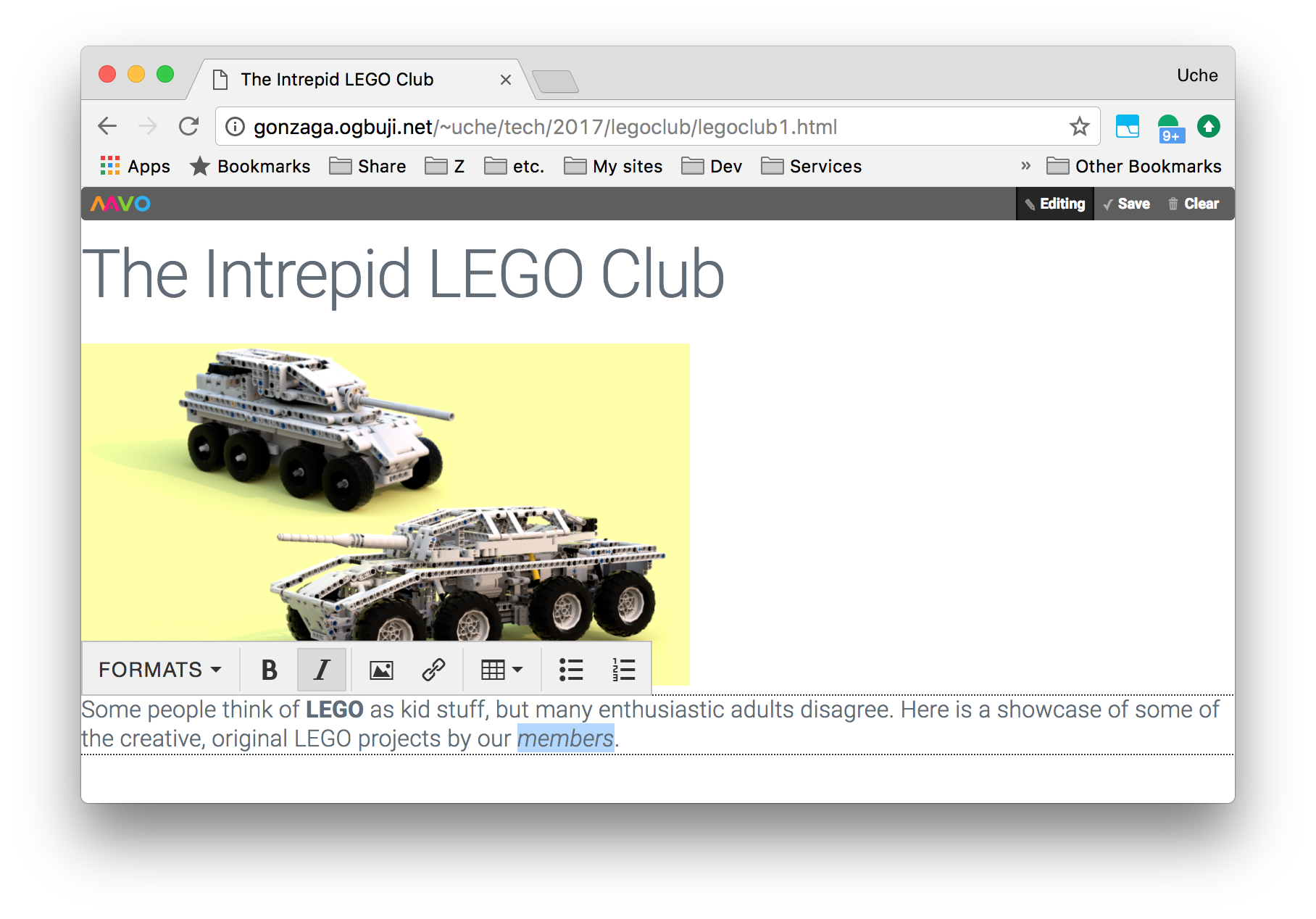 User editing summary paragraph of LEGO club page