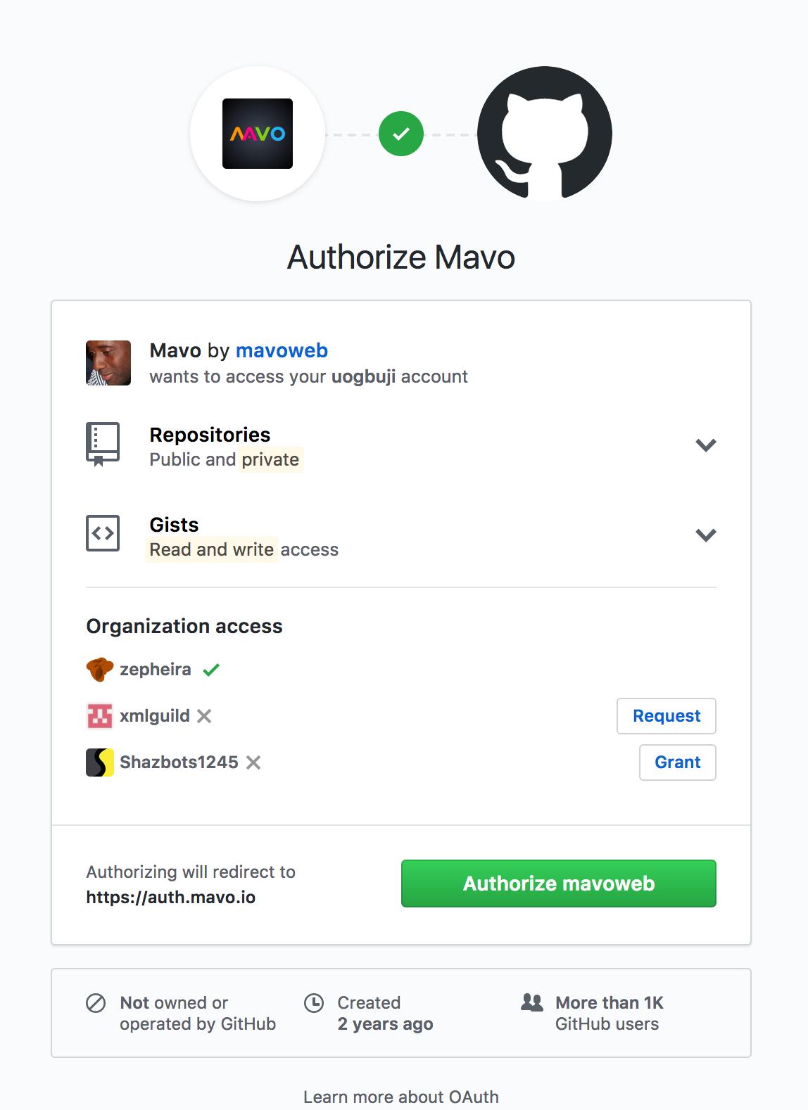 Mavo framework GitHub integration pop-up