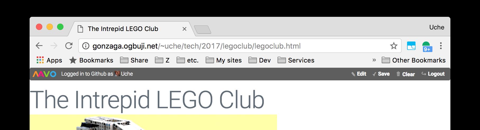 Mavo bar after GitHub login