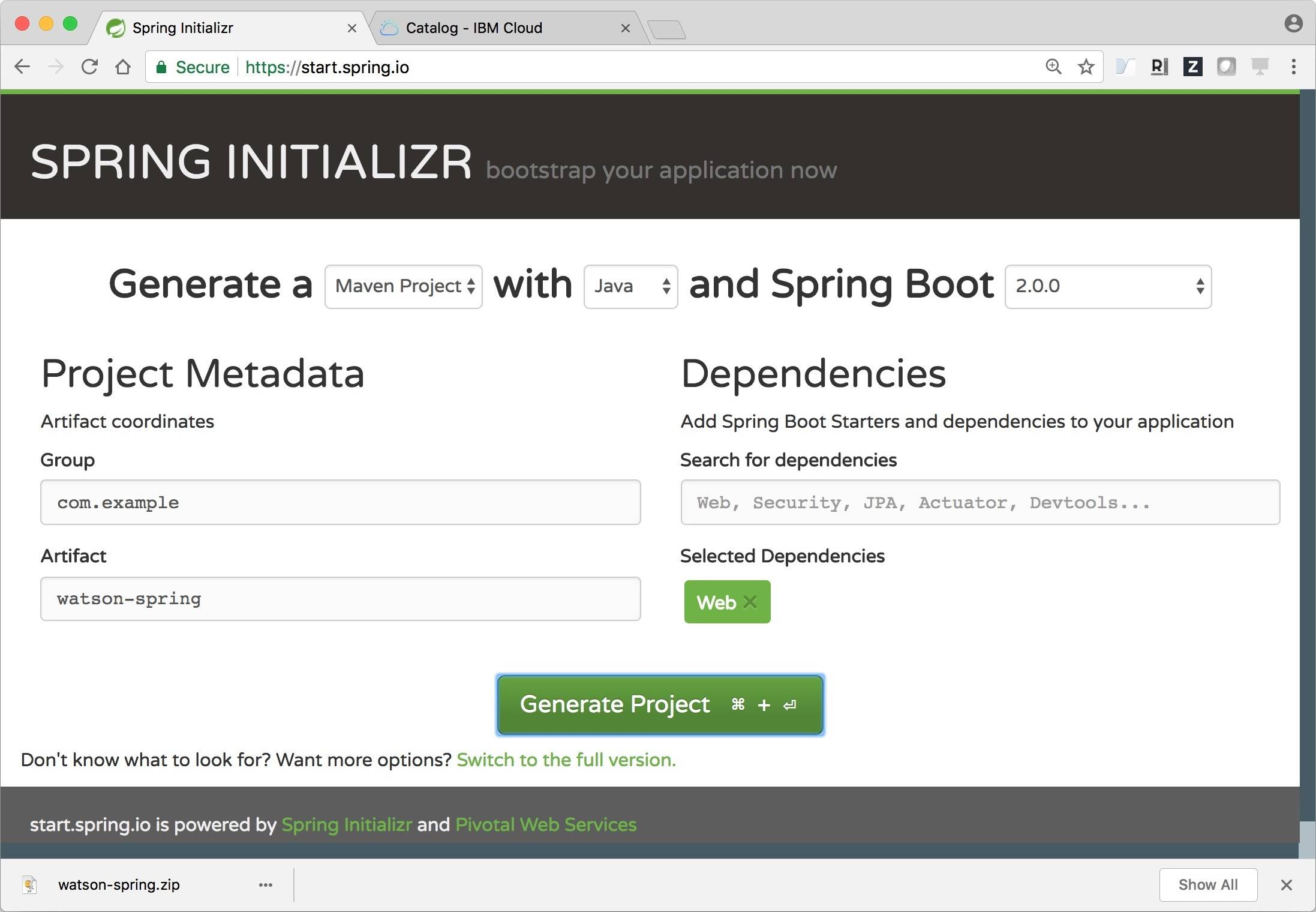 Use the Watson Spring Boot Starter to access Watson services – IBM