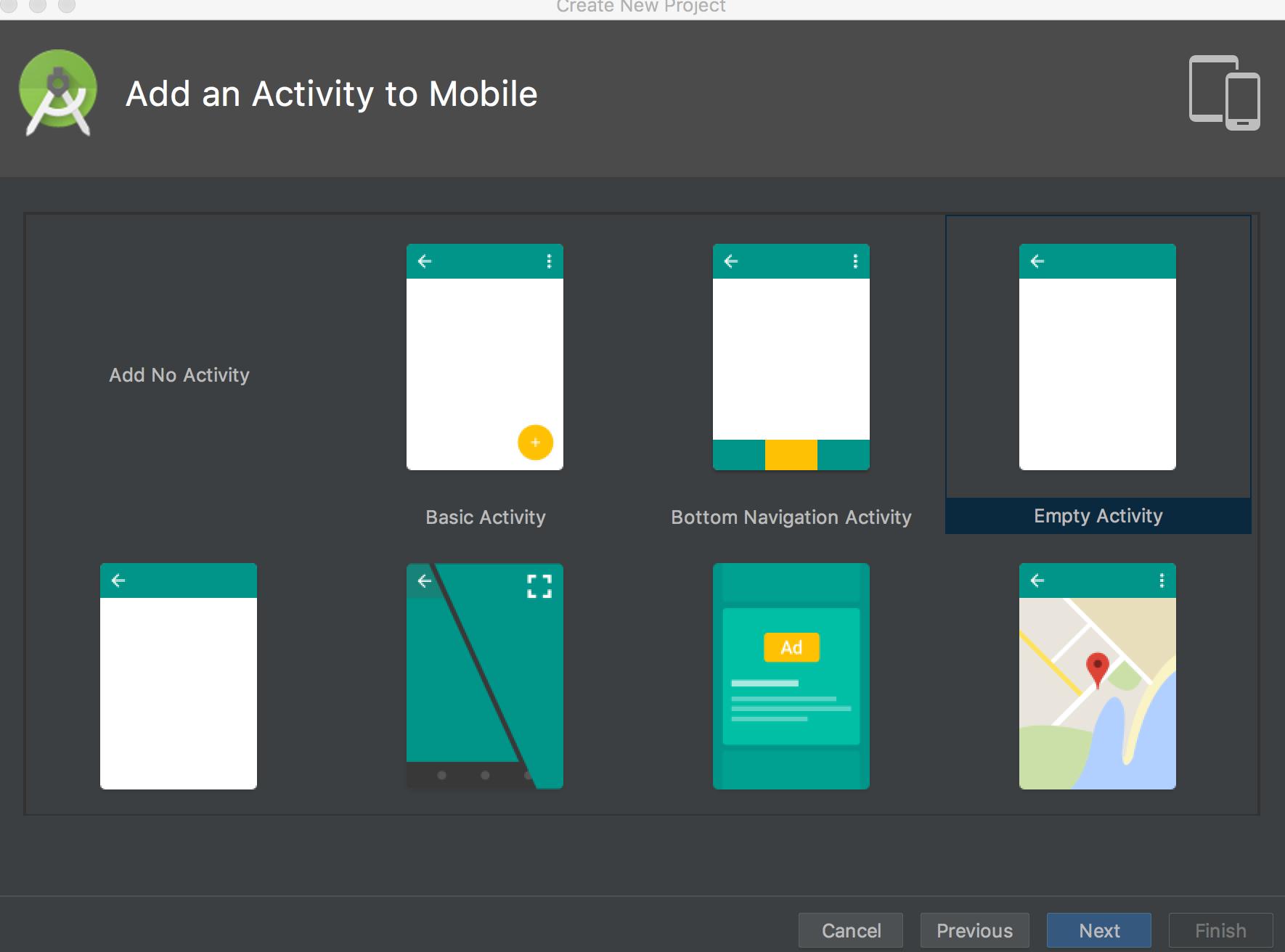 Select Empty Activity