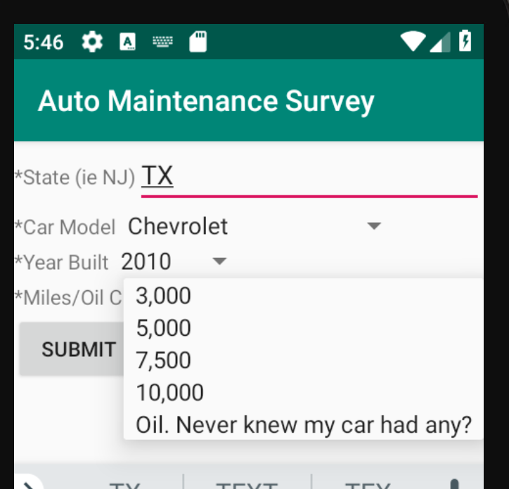 XmlGuiPickOne asking about oil changes
