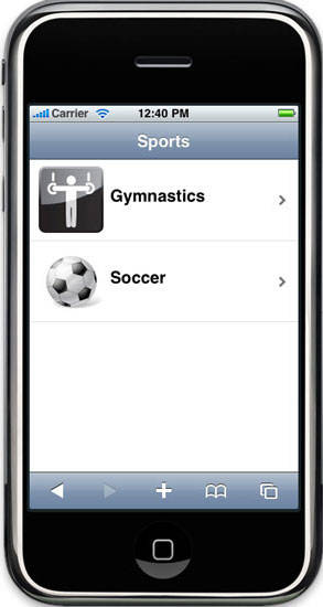 Screen capture of offline Web app running on iPhone simulator for Sports app with Gymnastics and Soccoer options
